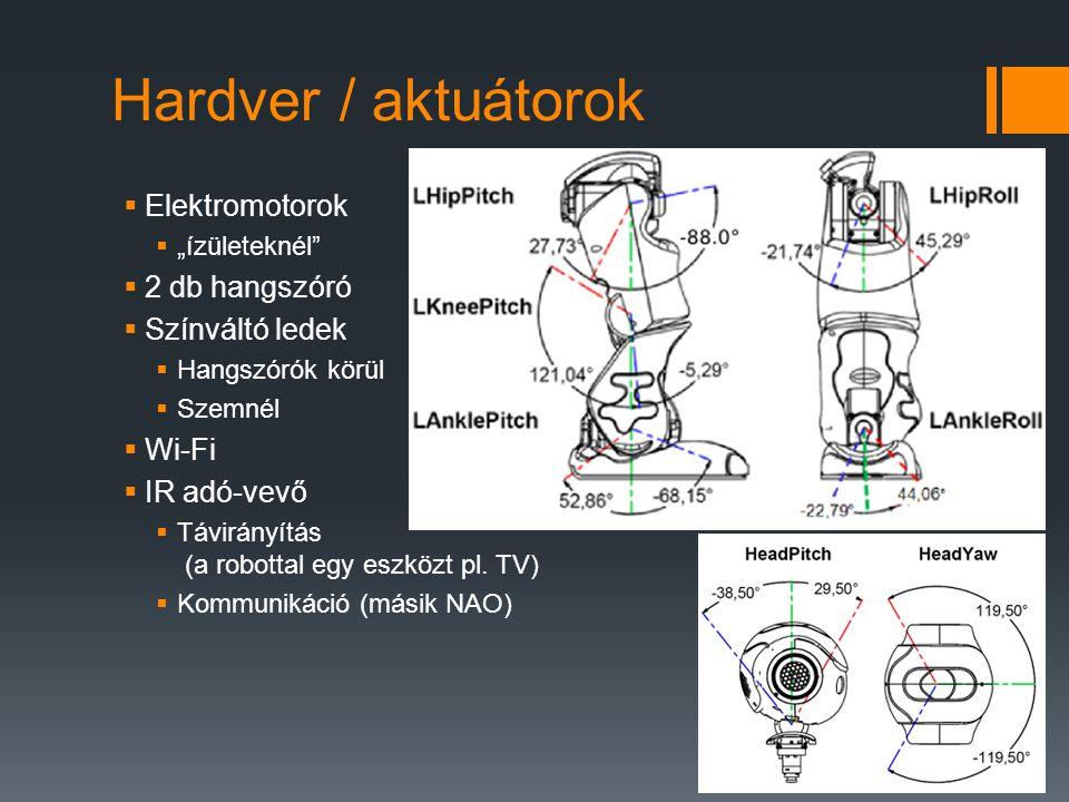 """Hardver / aktuátorok  Elektromotorok  """"ízületeknél""""  2 db hangszóró  Színváltó ledek  Hangszórók körül  Szemnél  Wi-Fi  IR adó-vevő  Távirány"""