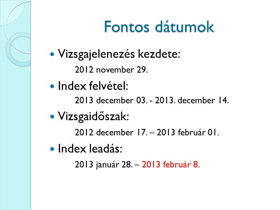 Fontos dátumok Zárva tartások az ELTE-n Északi épület: 2012 december 27.