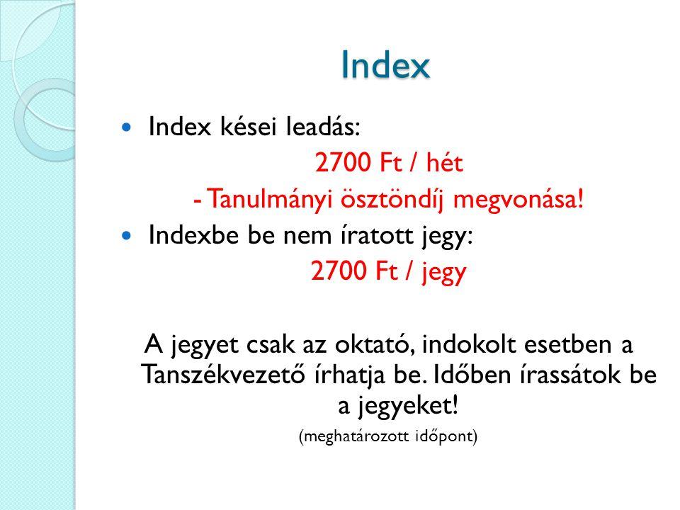 Díjak, Szankciók 3.vizsgaalkalom: 1500 Ft 4.