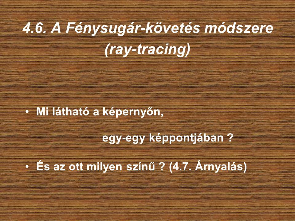 4.6. A Fénysugár-követés módszere (ray-tracing) Mi látható a képernyőn, egy-egy képpontjában .