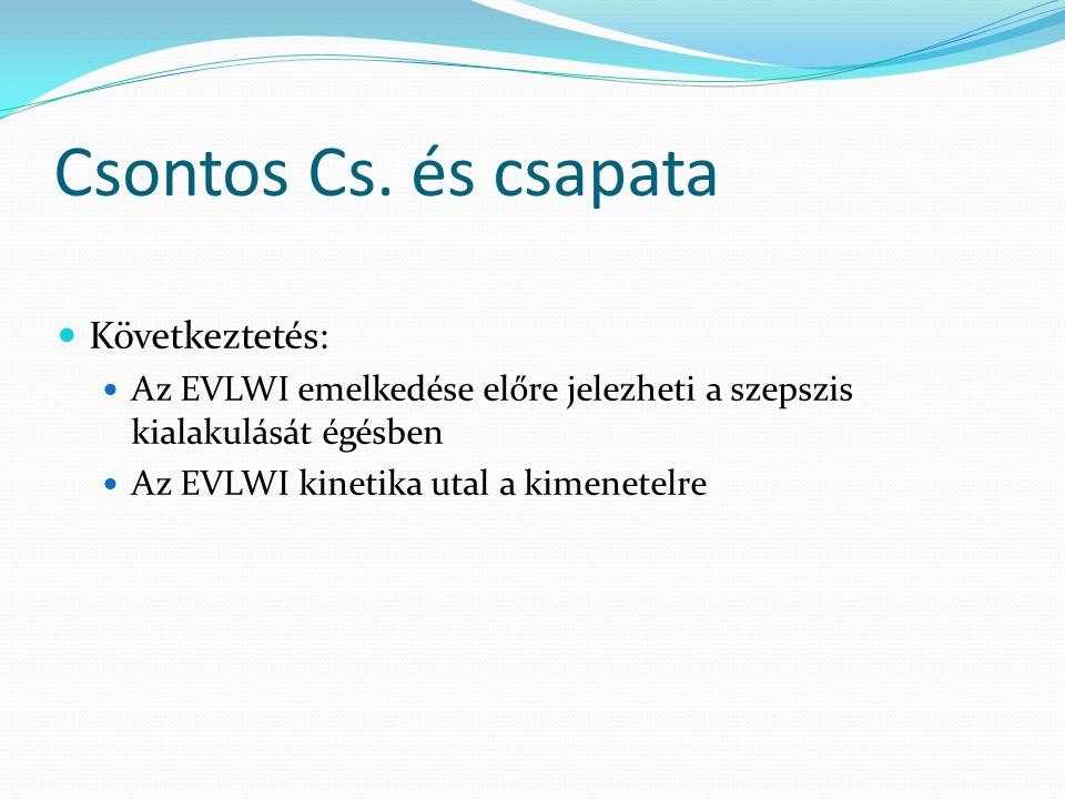 Következtetés: Az EVLWI emelkedése előre jelezheti a szepszis kialakulását égésben Az EVLWI kinetika utal a kimenetelre