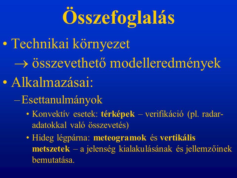 Összefoglalás Technikai környezet  összevethető modelleredmények Alkalmazásai: –Esettanulmányok Konvektív esetek: térképek – verifikáció (pl.