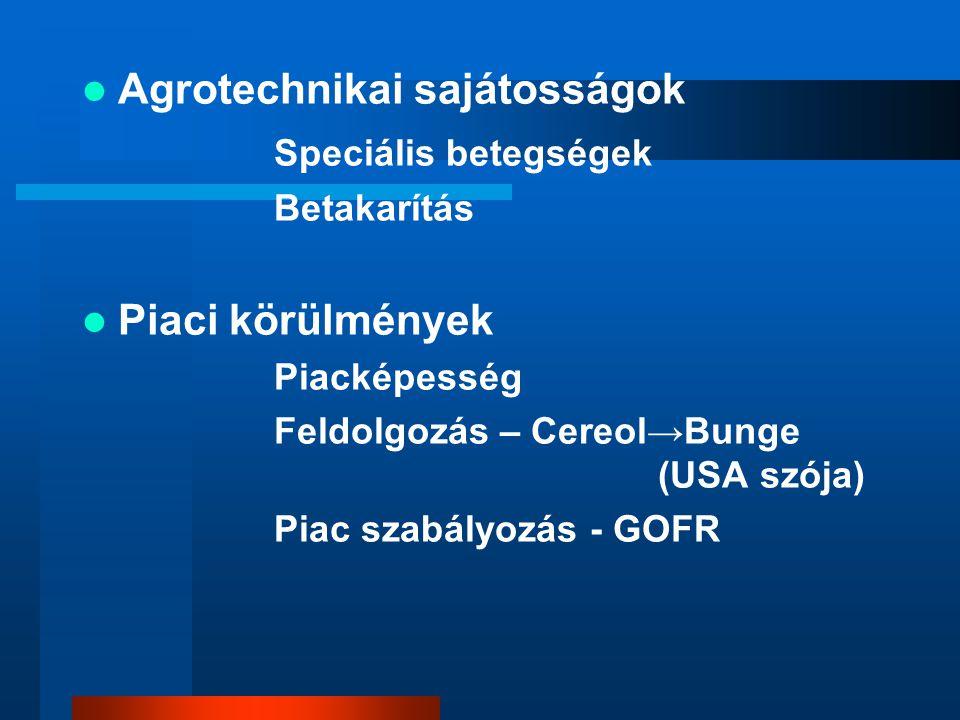 Agrotechnikai sajátosságok Speciális betegségek Betakarítás Piaci körülmények Piacképesség Feldolgozás – Cereol→Bunge (USA szója) Piac szabályozás - G