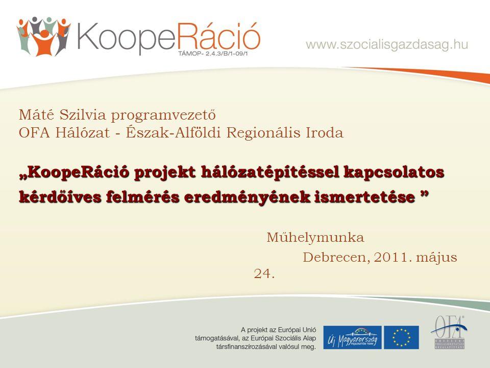 """""""KoopeRáció projekt hálózatépítéssel kapcsolatos kérdőíves felmérés eredményének ismertetése"""" Máté Szilvia programvezető OFA Hálózat - Észak-Alföldi R"""