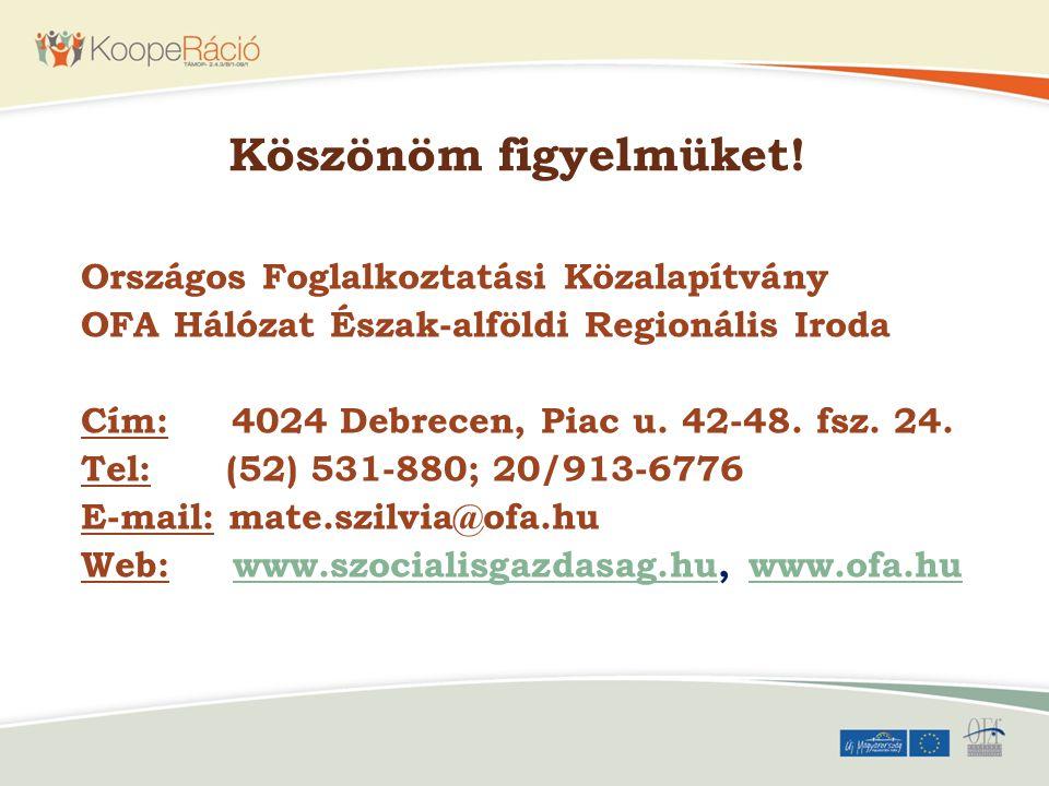 Köszönöm figyelmüket! Országos Foglalkoztatási Közalapítvány OFA Hálózat Észak-alföldi Regionális Iroda Cím: 4024 Debrecen, Piac u. 42-48. fsz. 24. Te