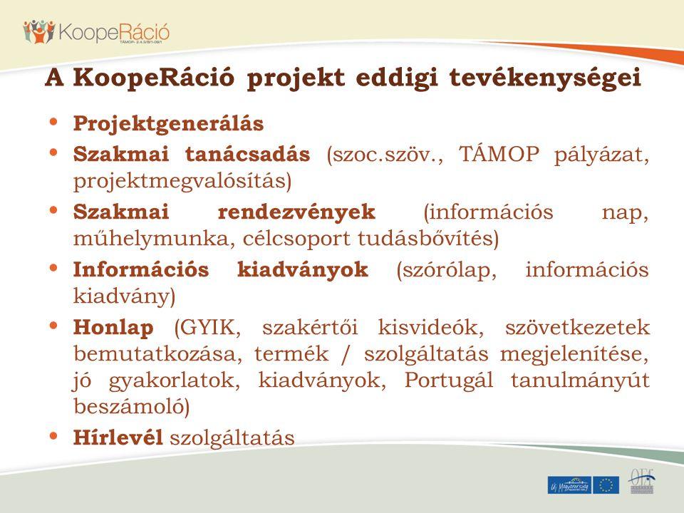 A KoopeRáció projekt eddigi tevékenységei Projektgenerálás Szakmai tanácsadás (szoc.szöv., TÁMOP pályázat, projektmegvalósítás) Szakmai rendezvények (