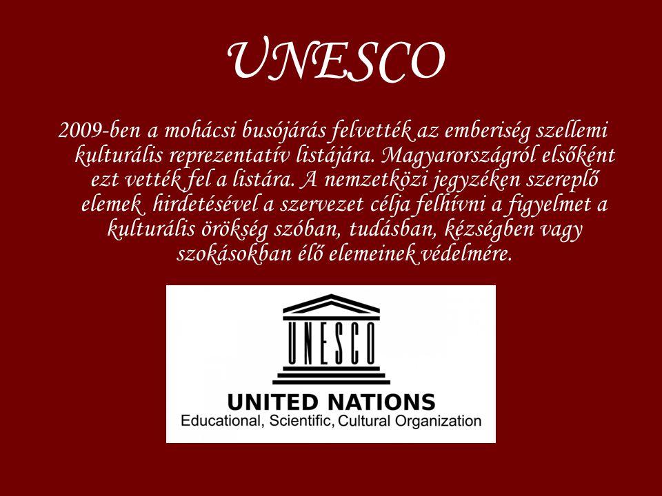 UNESCO 2009-ben a mohácsi busójárás felvették az emberiség szellemi kulturális reprezentatív listájára. Magyarországról elsőként ezt vették fel a list