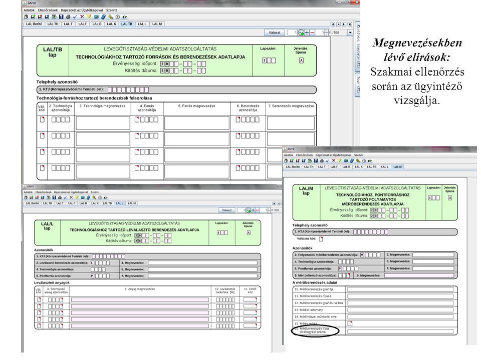 Megnevezésekben lévő elírások: Szakmai ellenőrzés során az ügyintéző vizsgálja.