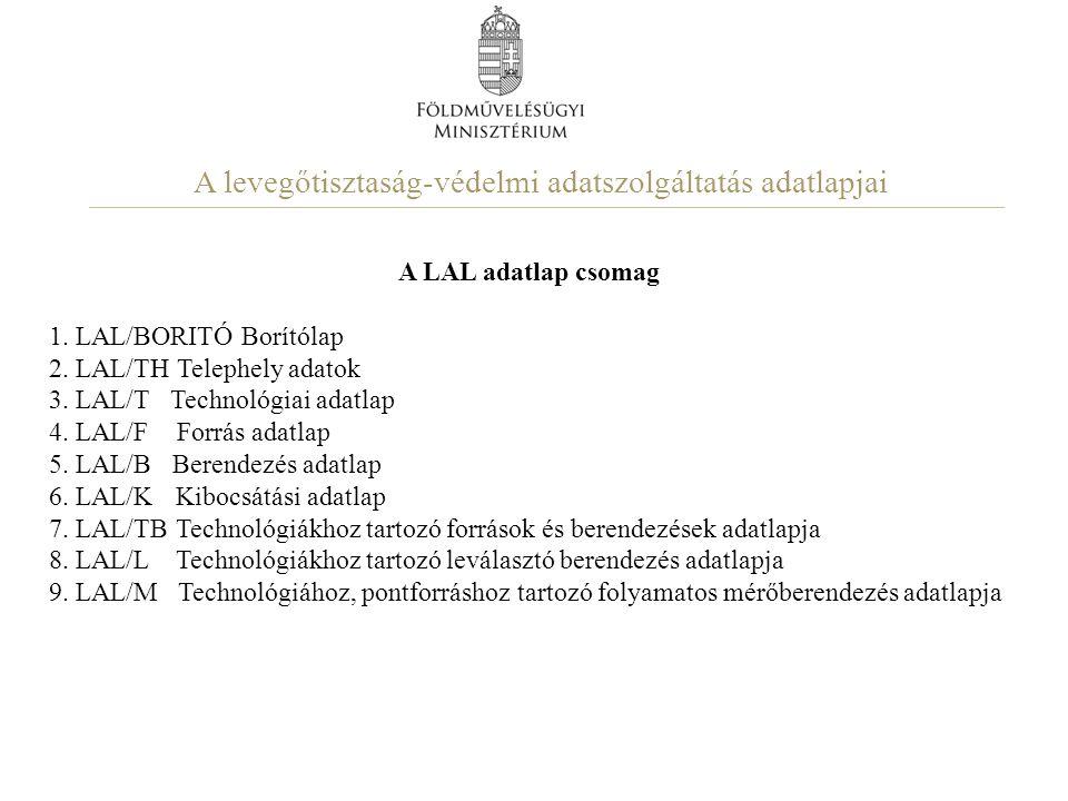 A levegőtisztaság-védelmi adatszolgáltatás adatlapjai A LAL adatlap csomag 1. LAL/BORITÓ Borítólap 2. LAL/TH Telephely adatok 3. LAL/T Technológiai ad