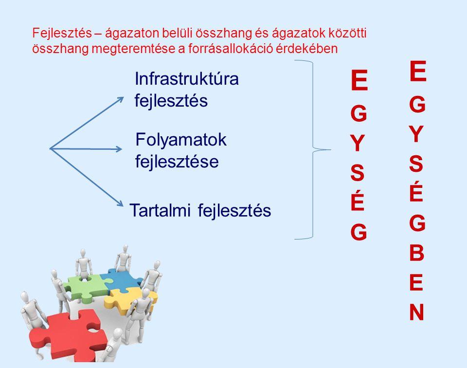 Infrastruktúra fejlesztés Folyamatok fejlesztése Tartalmi fejlesztés Fejlesztés – ágazaton belüli összhang és ágazatok közötti összhang megteremtése a
