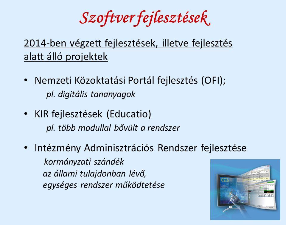 Szoftver fejlesztések 2014-ben végzett fejlesztések, illetve fejlesztés alatt álló projektek Nemzeti Közoktatási Portál fejlesztés (OFI); pl. digitáli