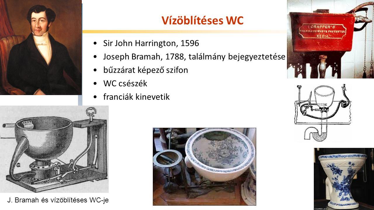 Széchenyi István Egyetem Vízöblítéses WC Sir John Harrington, 1596 Joseph Bramah, 1788, találmány bejegyeztetése bűzzárat képező szifon WC csészék franciák kinevetik J.