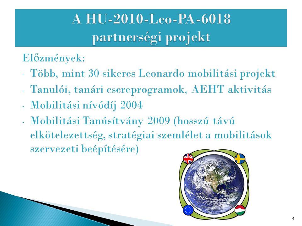 El ő zmények: - Több, mint 30 sikeres Leonardo mobilitási projekt - Tanulói, tanári csereprogramok, AEHT aktivitás - Mobilitási nívódíj 2004 - Mobilit