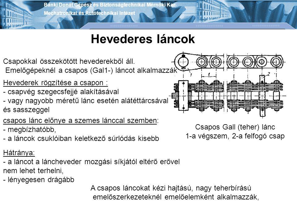 Csapokkal összekötött hevederekből áll. Emelőgépeknél a csapos (Gal1-) láncot alkalmazzák Hevederes láncok Csapos Gall (teher) lánc 1-a végszem, 2-a f