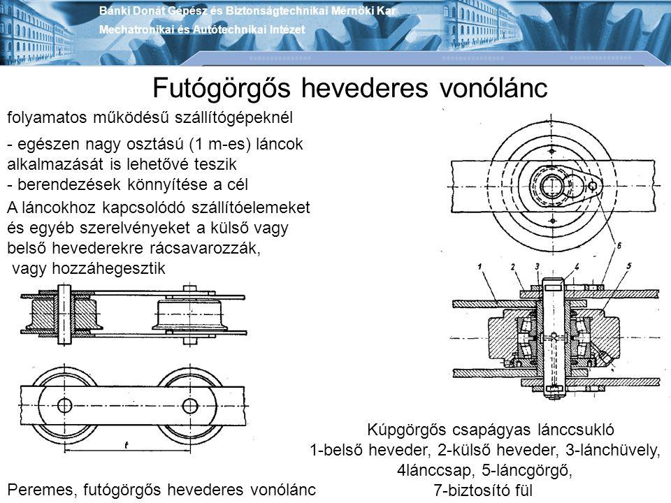 folyamatos működésű szállítógépeknél Peremes, futógörgős hevederes vonólánc - egészen nagy osztású (1 m-es) láncok alkalmazását is lehetővé teszik - b