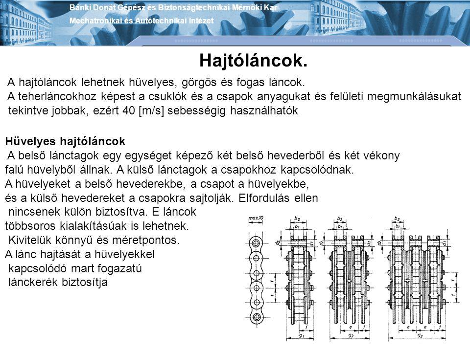 Bánki Donát Gépész és Biztonságtechnikai Mérnöki Kar Mechatronikai és Autótechnikai Intézet Hajtóláncok. Hüvelyes hajtóláncok A belső lánctagok egy eg