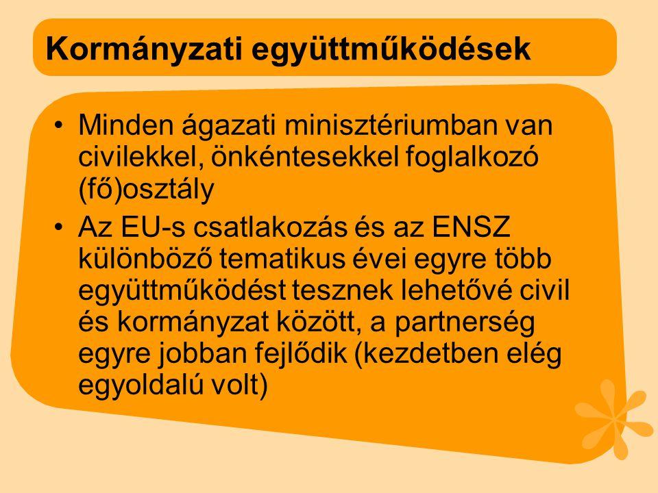 Kormányzati együttműködések Minden ágazati minisztériumban van civilekkel, önkéntesekkel foglalkozó (fő)osztály Az EU-s csatlakozás és az ENSZ különböző tematikus évei egyre több együttműködést tesznek lehetővé civil és kormányzat között, a partnerség egyre jobban fejlődik (kezdetben elég egyoldalú volt)