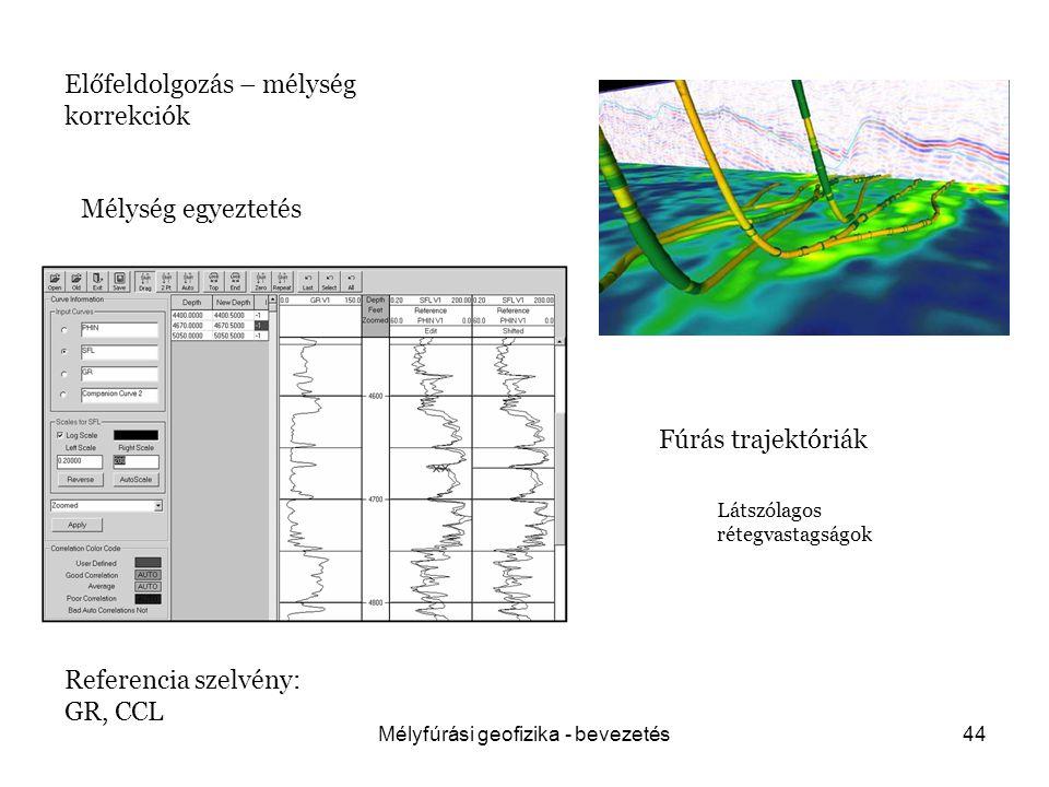 Mélyfúrási geofizika - bevezetés44 Előfeldolgozás – mélység korrekciók Fúrás trajektóriák Mélység egyeztetés Referencia szelvény: GR, CCL Látszólagos rétegvastagságok