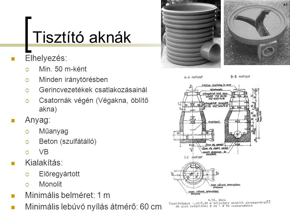 Tisztító aknák Elhelyezés:  Min. 50 m-ként  Minden iránytörésben  Gerincvezetékek csatlakozásainál  Csatornák végén (Végakna, öblítő akna) Anyag: