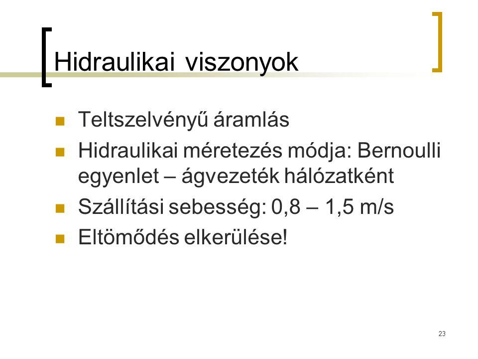 Hidraulikai viszonyok Teltszelvényű áramlás Hidraulikai méretezés módja: Bernoulli egyenlet – ágvezeték hálózatként Szállítási sebesség: 0,8 – 1,5 m/s