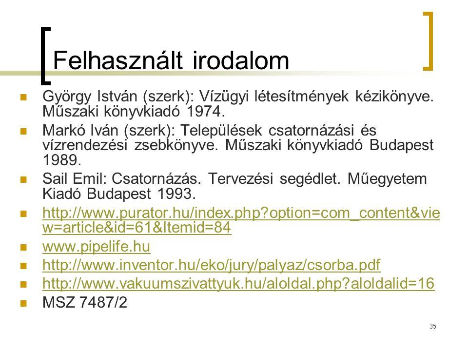 35 Felhasznált irodalom György István (szerk): Vízügyi létesítmények kézikönyve. Műszaki könyvkiadó 1974. Markó Iván (szerk): Települések csatornázási