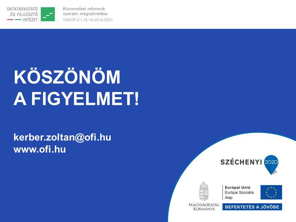 Köznevelési reformok operatív megvalósítása TÁMOP-3.1.15-14-2014-0001 KÖSZÖNÖM A FIGYELMET! kerber.zoltan@ofi.hu www.ofi.hu