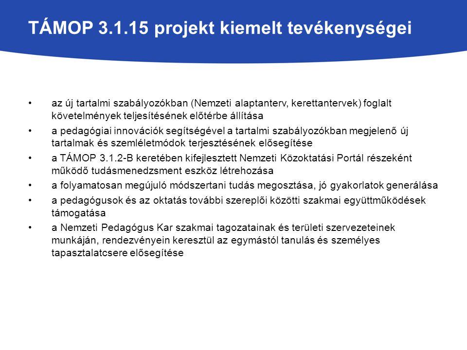 TÁMOP 3.1.15 projekt kiemelt tevékenységei az új tartalmi szabályozókban (Nemzeti alaptanterv, kerettantervek) foglalt követelmények teljesítésének el