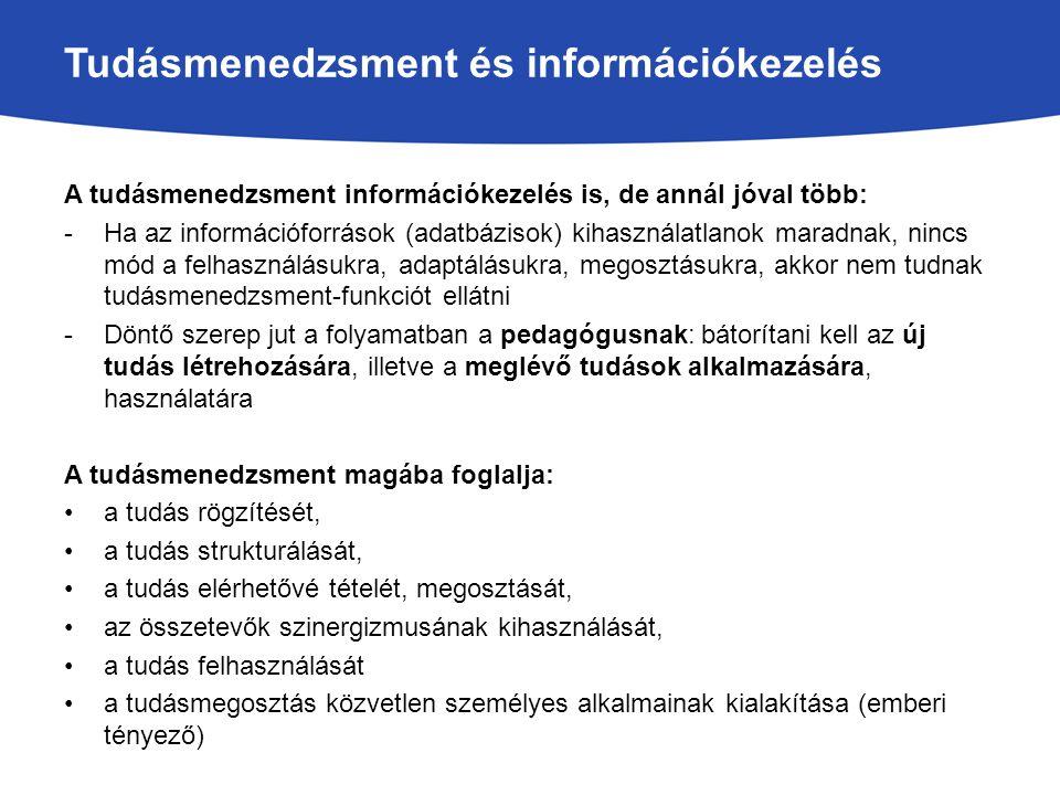 Tudásmenedzsment és információkezelés A tudásmenedzsment információkezelés is, de annál jóval több: -Ha az információforrások (adatbázisok) kihasznála