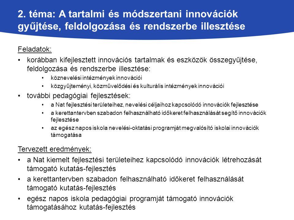 2. téma: A tartalmi és módszertani innovációk gyűjtése, feldolgozása és rendszerbe illesztése Feladatok: korábban kifejlesztett innovációs tartalmak é