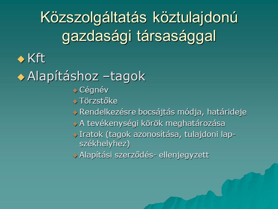 Közszolgáltatás köztulajdonú gazdasági társasággal  Kft  Alapításhoz –tagok  Cégnév  Törzstőke  Rendelkezésre bocsájtás módja, határideje  A tevékenységi körök meghatározása  Iratok (tagok azonosítása, tulajdoni lap- székhelyhez)  Alapítási szerződés- ellenjegyzett