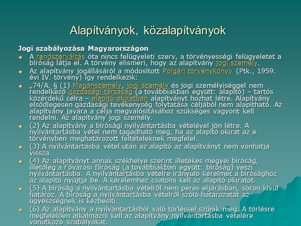 Alapítványok, közalapítványok Jogi szabályozása Magyarországon  A rendszerváltás óta nincs felügyeleti szerv, a törvényességi felügyeletet a bíróság látja el.