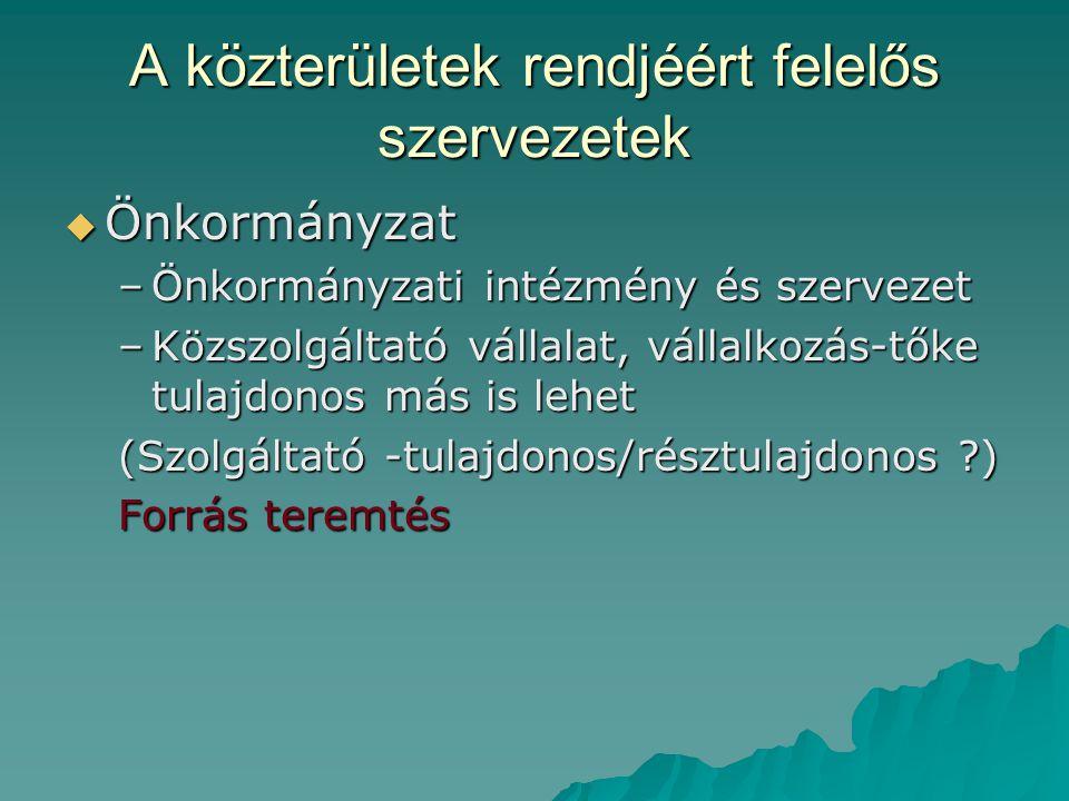 A közterületek rendjéért felelős szervezetek  Önkormányzat –Önkormányzati intézmény és szervezet –Közszolgáltató vállalat, vállalkozás-tőke tulajdonos más is lehet (Szolgáltató -tulajdonos/résztulajdonos ?) Forrás teremtés