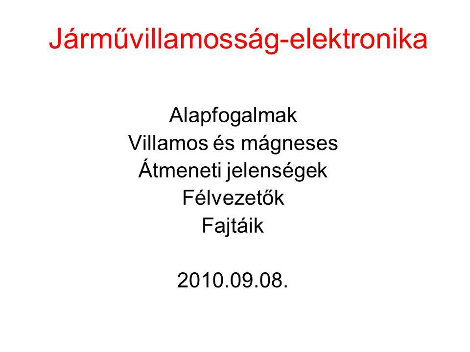 Járművillamosság-elektronika Alapfogalmak Villamos és mágneses Átmeneti jelenségek Félvezetők Fajtáik 2010.09.08.