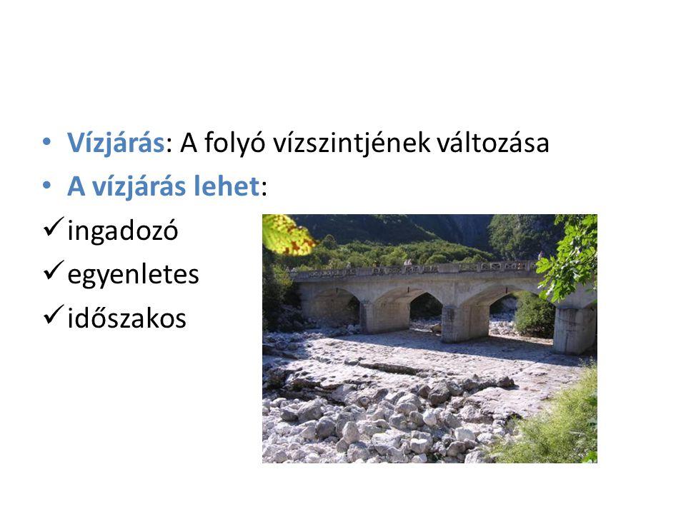 Vízjárás: A folyó vízszintjének változása A vízjárás lehet: ingadozó egyenletes időszakos