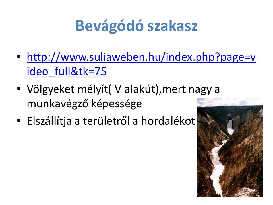 Bevágódó szakasz http://www.suliaweben.hu/index.php?page=v ideo_full&tk=75 http://www.suliaweben.hu/index.php?page=v ideo_full&tk=75 Völgyeket mélyít(