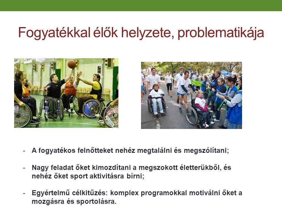 Fogyatékkal élők helyzete, problematikája -A fogyatékos felnőtteket nehéz megtalálni és megszólítani; -Nagy feladat őket kimozdítani a megszokott élet
