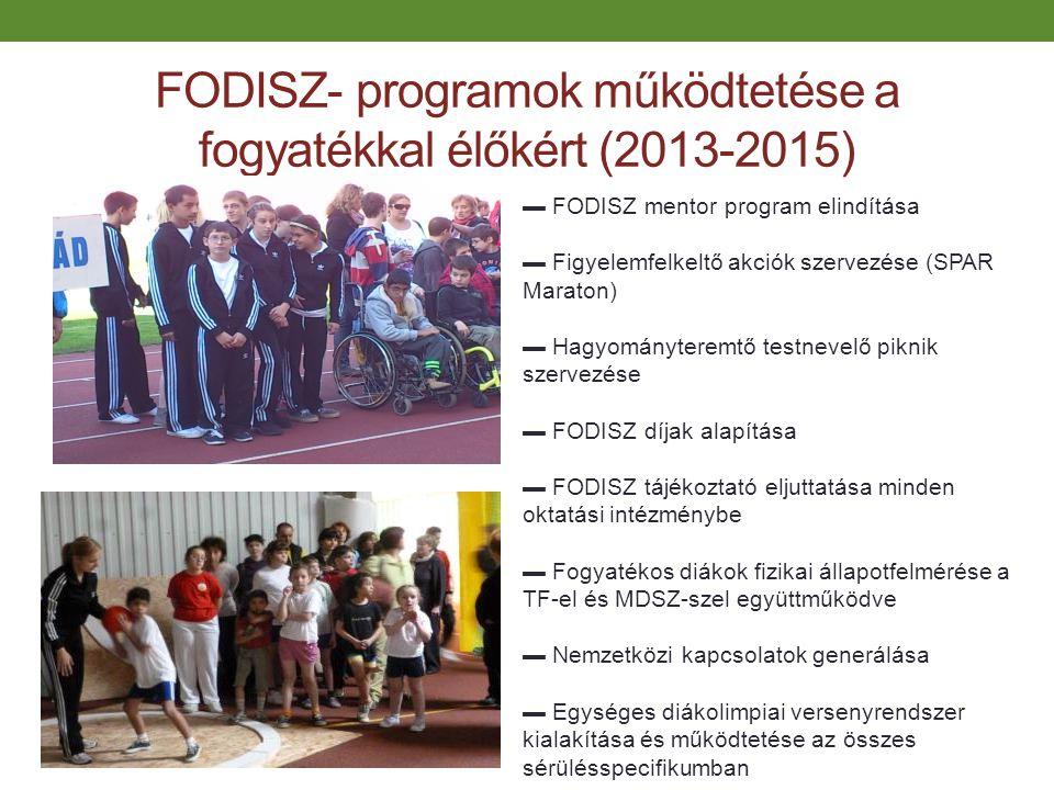 FODISZ- programok működtetése a fogyatékkal élőkért (2013-2015) ▬ FODISZ mentor program elindítása ▬ Figyelemfelkeltő akciók szervezése (SPAR Maraton)