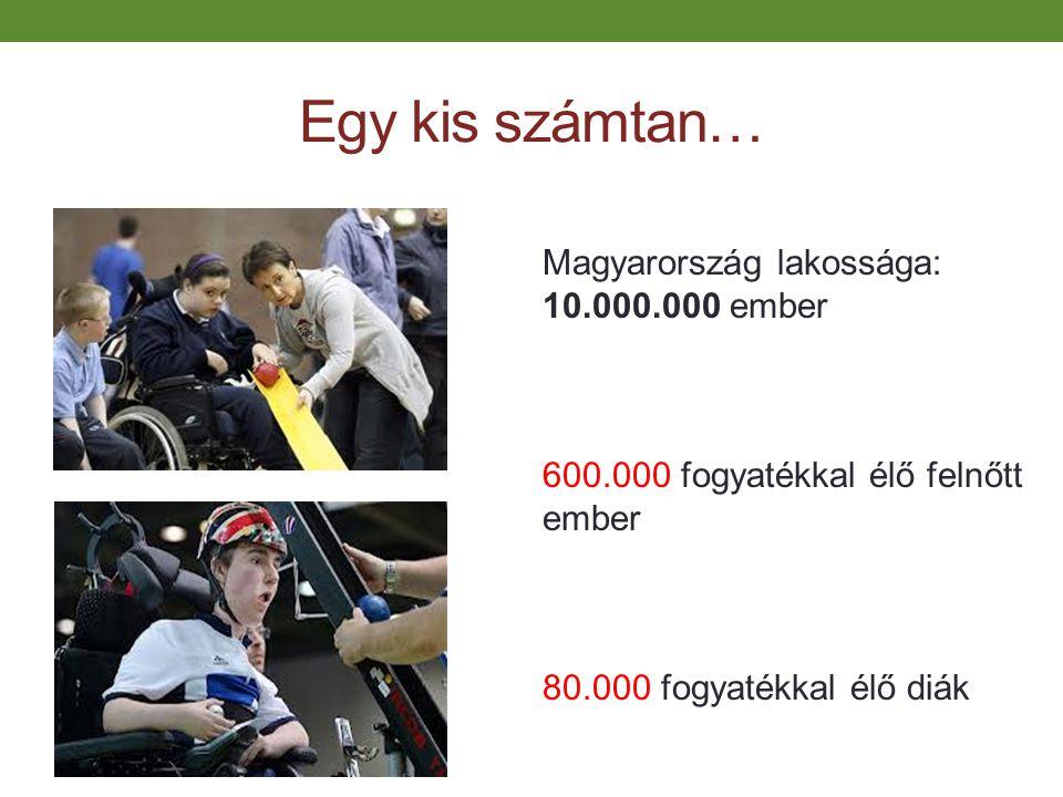 Egy kis számtan… Magyarország lakossága: 10.000.000 ember 600.000 fogyatékkal élő felnőtt ember 80.000 fogyatékkal élő diák