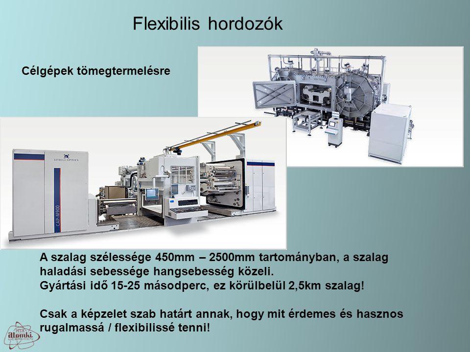 Flexibilis hordozók Célgépek tömegtermelésre A szalag szélessége 450mm – 2500mm tartományban, a szalag haladási sebessége hangsebesség közeli. Gyártás