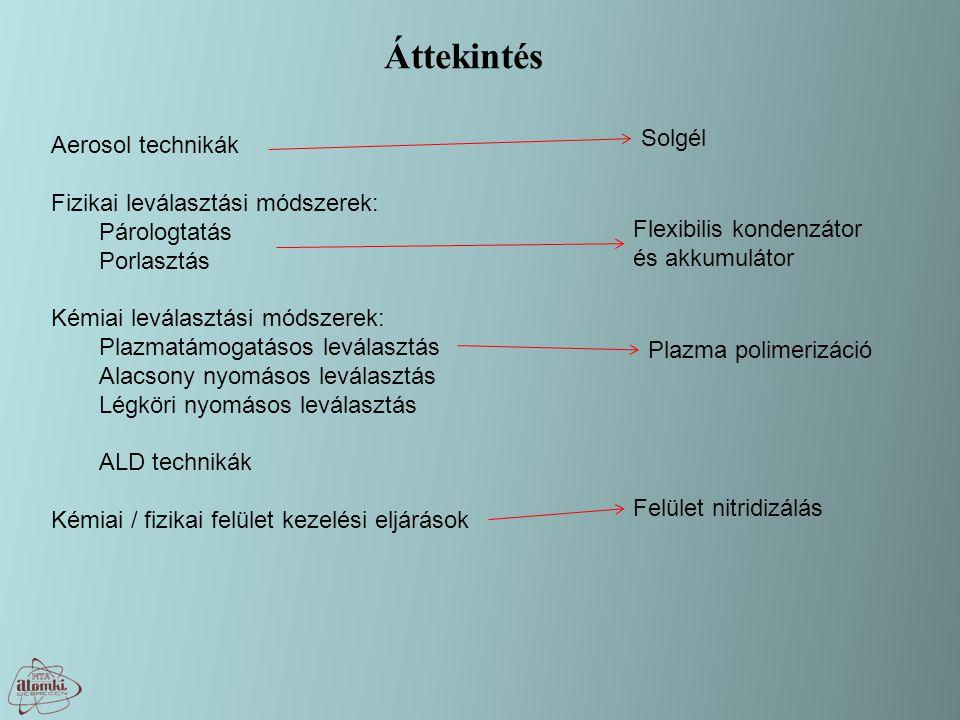 Áttekintés Aerosol technikák Fizikai leválasztási módszerek: Párologtatás Porlasztás Kémiai leválasztási módszerek: Plazmatámogatásos leválasztás Alacsony nyomásos leválasztás Légköri nyomásos leválasztás ALD technikák Kémiai / fizikai felület kezelési eljárások Felület nitridizálás Plazma polimerizáció Solgél Flexibilis kondenzátor és akkumulátor