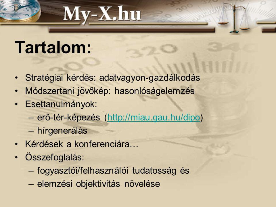 INNOCSEKK 156/2006 Tartalom: Stratégiai kérdés: adatvagyon-gazdálkodás Módszertani jövőkép: hasonlóságelemzés Esettanulmányok: –erő-tér-képezés (http://miau.gau.hu/dipo)http://miau.gau.hu/dipo –hírgenerálás Kérdések a konferenciára… Összefoglalás: –fogyasztói/felhasználói tudatosság és –elemzési objektivitás növelése