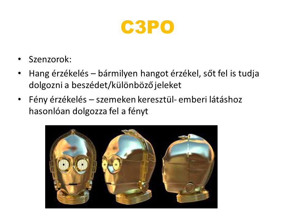 C3PO Aktuátorok: Helyváltoztatás – ember szerű felépítés-> Összetett mozgásokra képes (lábak térdnél is mozgathatók, kezek vállnál és könyöknél is, illetve a nyak és a törzs rész is külön mozgatható) Hang kibocsátás: kialakított száj amin keresztül érthető beszédre képes