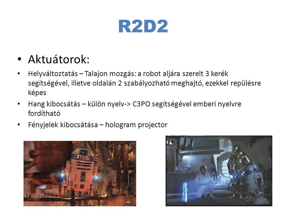 R2D2 Aktuátorok: Helyváltoztatás – Talajon mozgás: a robot aljára szerelt 3 kerék segítségével, illetve oldalán 2 szabályozható meghajtó, ezekkel repü