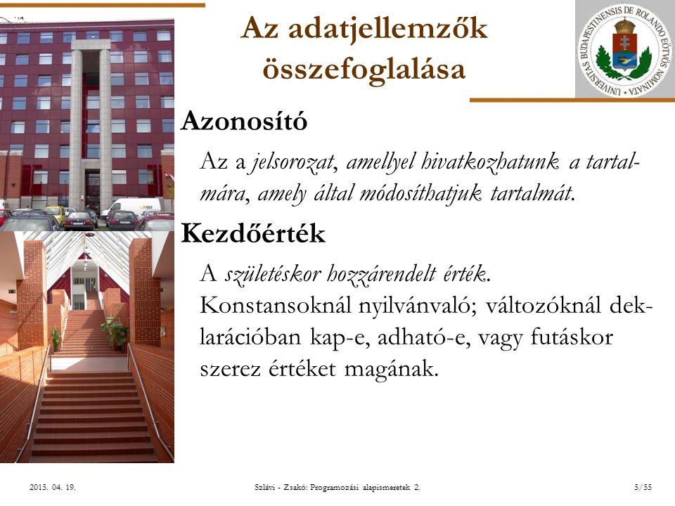 ELTE Szlávi - Zsakó: Programozási alapismeretek 2.16/552015.