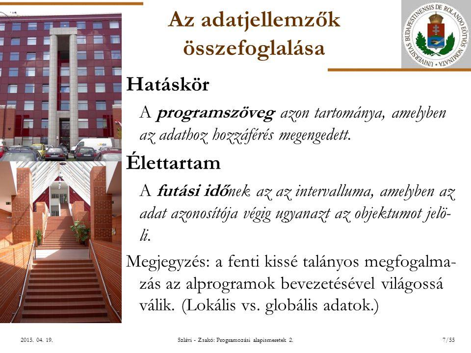 ELTE Szlávi - Zsakó: Programozási alapismeretek 2.7/552015.