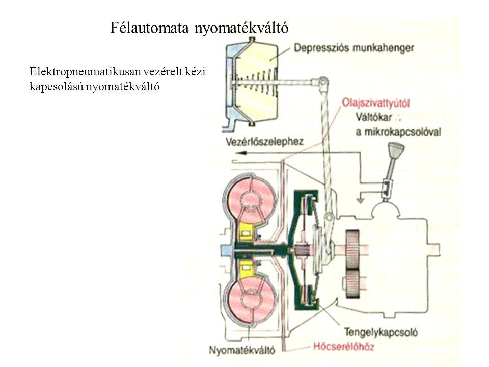 Automata nyomatékváltó: A nyomatékváltó olajok ATF hajtóműolajok (Automatic Transmission Fluids) Ezek az olajok a hidrodinamikus nyomatékváltós és bolygóműves nyomatékváltókban: - a gördülő és siklócsapágyakat, bolygókerékegységeket és a szabadonfutókat kenik, - a hidrodinamikus nyomatékváltó, a hidrodinamikus vezérlés, a lemezes tengelykapcsolók és szalagfékek munkaközegei, - a hidrodinamikus nyomatékváltók és bolygóművek hűtőközegei