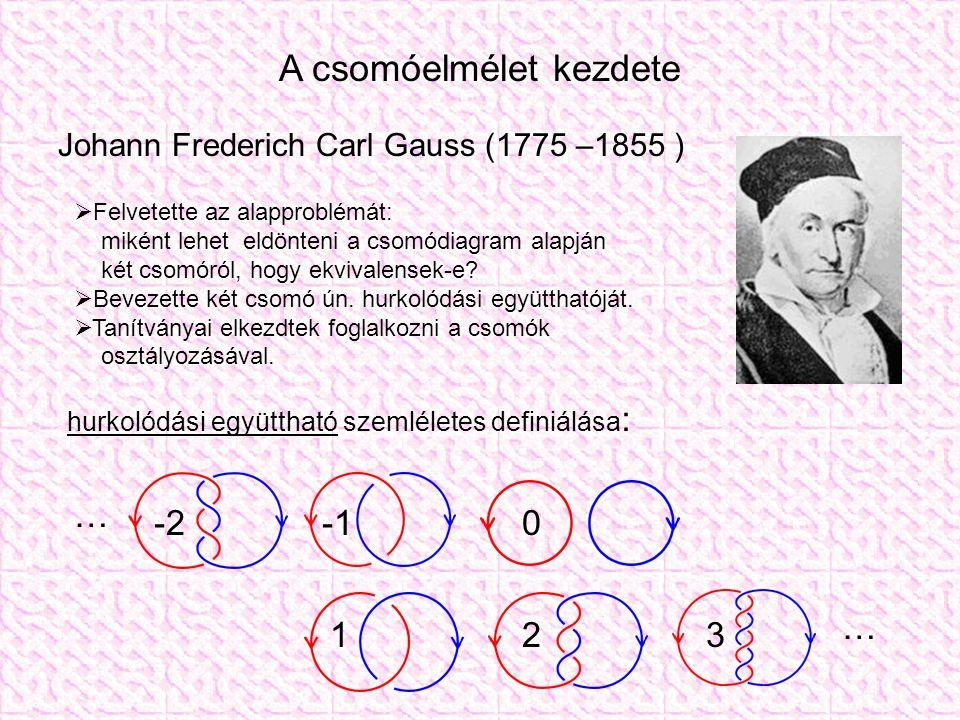 A csomóelmélet kezdete Johann Frederich Carl Gauss (1775 –1855 )  Felvetette az alapproblémát: miként lehet eldönteni a csomódiagram alapján két csomóról, hogy ekvivalensek-e.