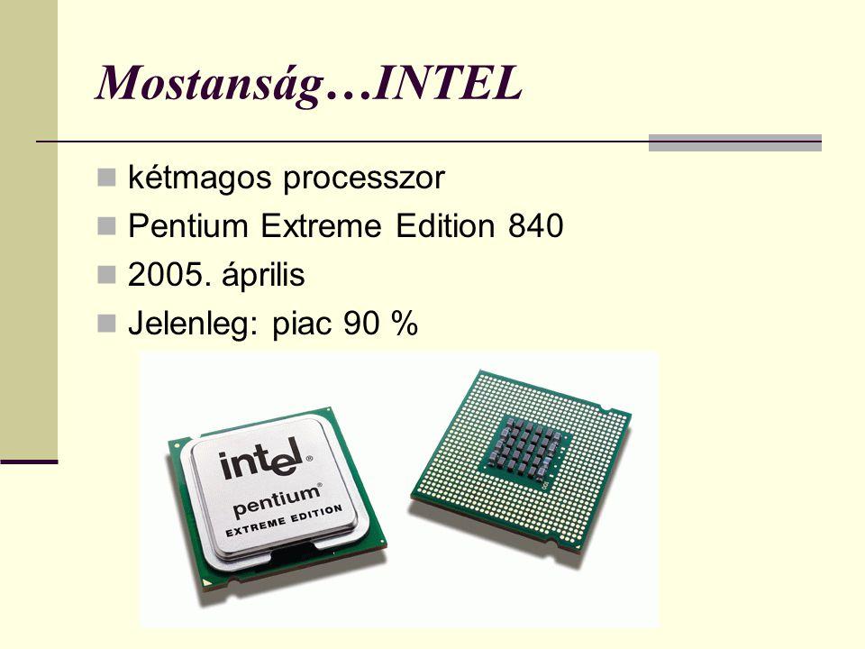 Mostanság…INTEL kétmagos processzor Pentium Extreme Edition 840 2005. április Jelenleg: piac 90 %