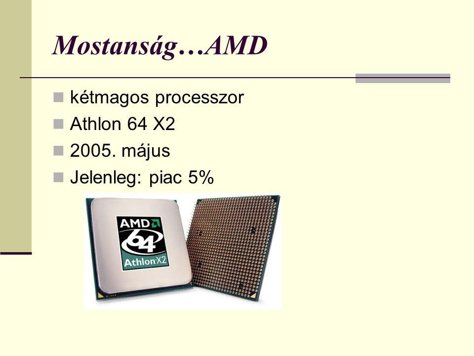 Mostanság…AMD kétmagos processzor Athlon 64 X2 2005. május Jelenleg: piac 5%