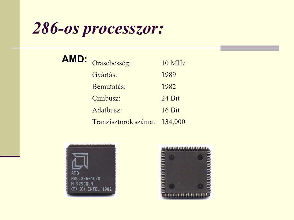 286-os processzor: AMD: Órasebesség:10 MHz Gyártás:1989 Bemutatás:1982 Címbusz:24 Bit Adatbusz:16 Bit Tranzisztorok száma:134,000